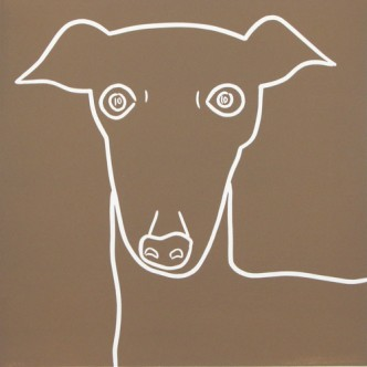 Greyhound Hound Dog - Linocut, light brown ink, by Jane Bristowe
