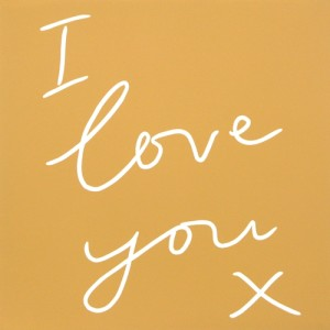 I Love You x - Linocut, Yellow ink, by Jane Bristowe