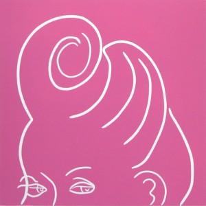 Curl - Linocut, hairstyle, pink ink, by Jane Bristowe