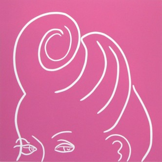 Curl - Linocut, hairstyle, pink ink, by Jane Bristowe