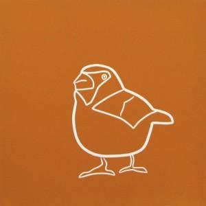 Hawfinch - Linocut, orange ink, by Jane Bristowe