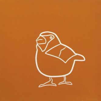 Hawfinch - Linocut, orange ink, by Jane Bristowe