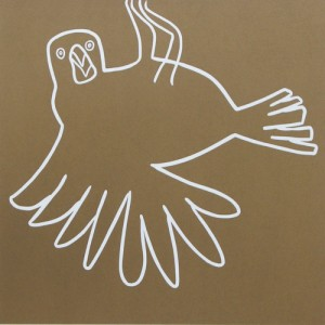 Weaver Bird - Linocut, light brown ink, by Jane Bristowe