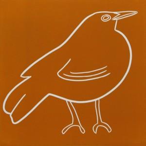 Blackbird - Linocut, orange ink, by Jane Bristowe
