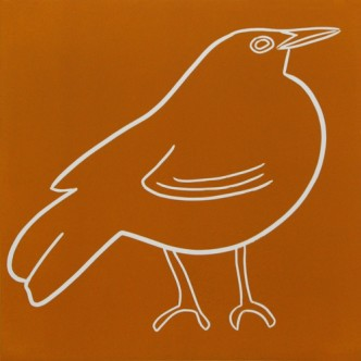 Blackbird - Linocut, orange ink, by Jane Bristowe