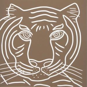 Tiger Close-Up - Linocut, Indian, light brown ink, by Jane Bristowe