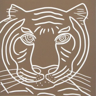 Tiger Close-Up - Linocut, Indian, light brown ink, by Jane Bristowe