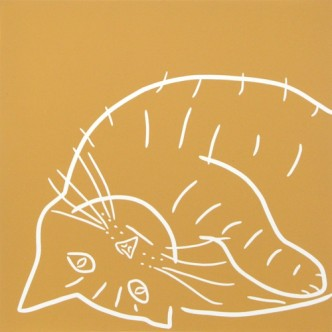 Ginger Cat - Linocut, yellow ink, by Jane Bristowe