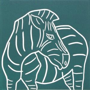 Zebra Turning - Linocut, blue-green ink, by Jane Bristowe