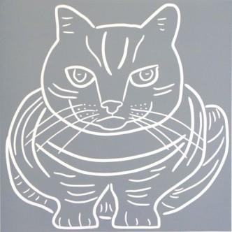 Crouching Cat - Linocut , by Jane Bristowe
