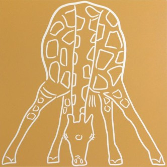 Giraffe Drinking front-on - Linocut by Jane Bristowe