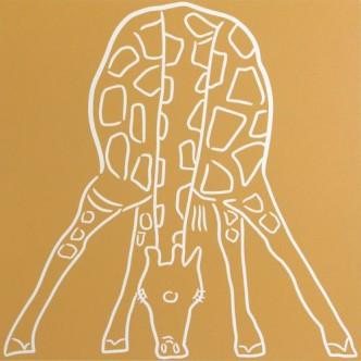 Giraffe Drinking front-on - Linocut by Jane Bristowe