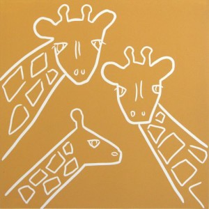Giraffe Family - Linocut by Jane Bristowe
