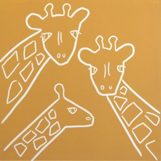 Giraffe Family - Linocut by Jane Bristowe