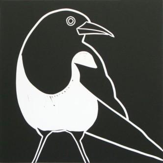 Magpie - Linocut by Jane Bristowe