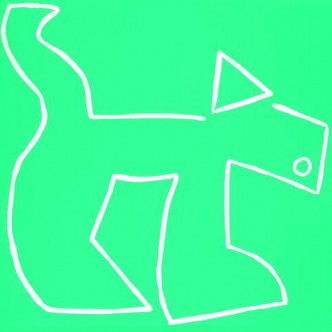 Dog - Linocut, bright green ink, by Jane Bristowe