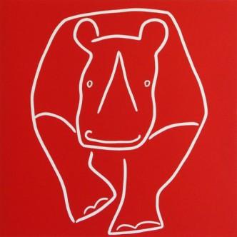 Rhino running - Linocut by Jane Bristowe