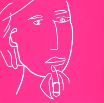 Lipstick - Linocut, pink ink, by Jane Bristowe