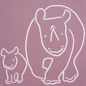 Rhinos - Mother and Baby by Jane Bristowe