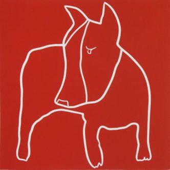 bull-terrier Linocut Jane Bristowe