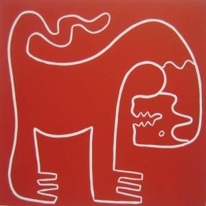 Lion - Linocut, red ink, by Jane Bristowe