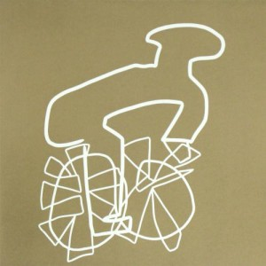 Cyclist Gold - Linocut, gold ink, by Jane Bristowe
