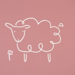 Sheep - Linocut, muted pink ink, by Jane Bristowe