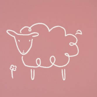 Sheep - Linocut, muted pink ink, by Jane Bristowe