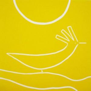 Sunbird - Linocut, yellow ink, by Jane Bristowe