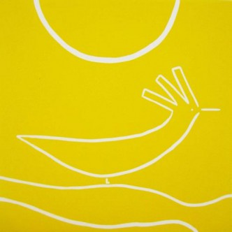 Sunbird - Linocut, yellow ink, by Jane Bristowe