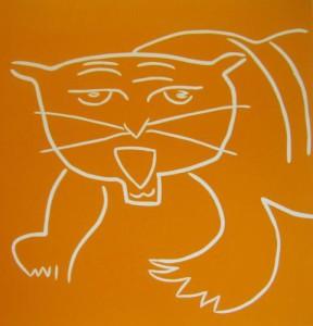 Tiger - Linocut, orange ink, by Jane Bristowe