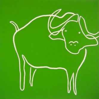 Water Buffalo - Linocut, green ink, by Jane Bristowe