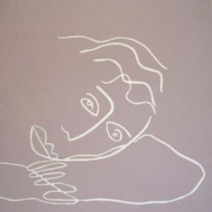 Dreaming woman - Linocut, pink ink, by Jane Bristowe