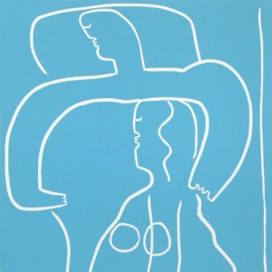 Couple in Bed - Linocut, blue-green ink, by Jane Bristowe
