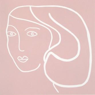 Dusky woman - Linocut, pink ink, by Jane Bristowe