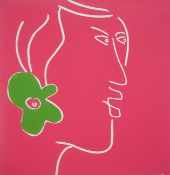 Tahitian woman - Linocut, pink ink, by Jane Bristowe