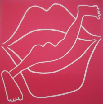 Diving into Mouth - Linocut, pink ink, by Jane Bristowe