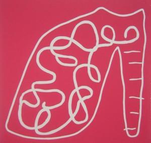 Pink Shoe - Linocut, pink ink, by Jane Bristowe