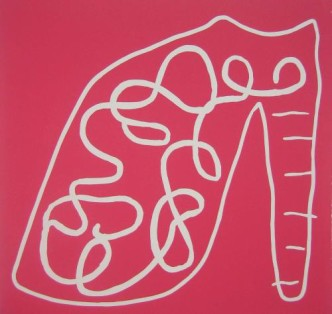 Pink Shoe - Linocut, pink ink, by Jane Bristowe