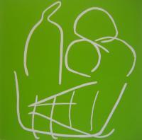 Fruit Bowl - Linocut, green ink, by Jane Bristowe