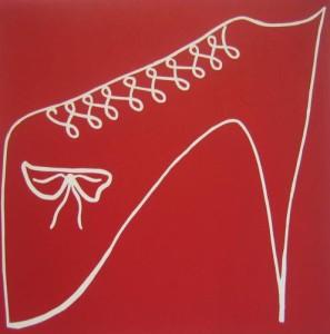 Red Shoe - Linocut, red ink, by Jane Bristowe