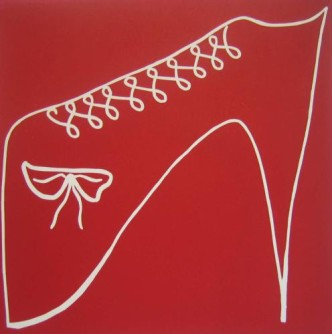 Red Shoe - Linocut, red ink, by Jane Bristowe