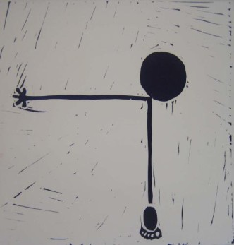 Figure - Linocut, black ink, by Jane Bristowe