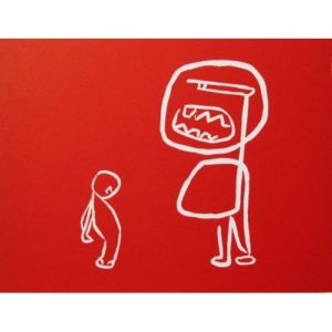 Scolding - Linocut, red ink, by Jane Bristowe