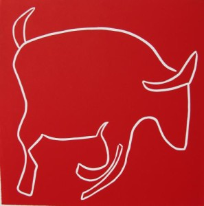 Running Bull - Linocut, red ink, by Jane Bristowe