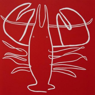 Lobster - Linocut, red ink, by Jane Bristowe