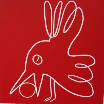 Bird and ball - Linocut, red ink, by Jane Bristowe