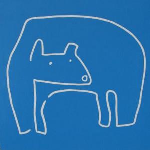 Polar Bear - Linocut, blue ink, by Jane Bristowe