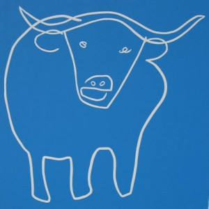 Standing Bull - Linocut, blue ink, by Jane Bristowe