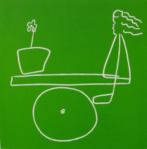 See-Saw - Linocut, green ink, by Jane Bristowe